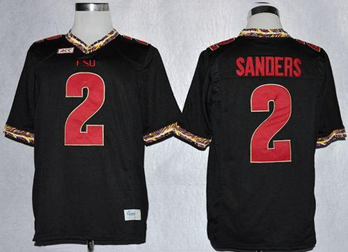 Seminoles #2 Deion Sanders Black Stitched NCAA Jersey