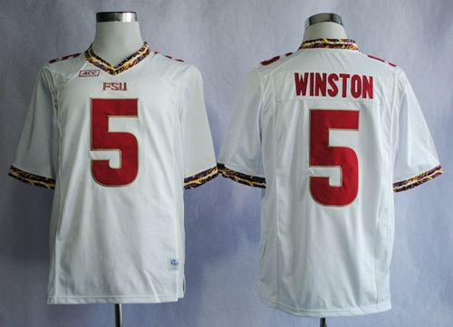 Seminoles #5 Jameis Winston White Stitched NCAA Jersey