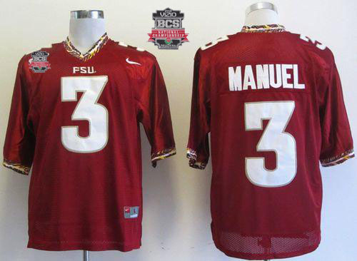 Seminoles #3 E.J Manuel Red 2014 BCS Bowl Patch Stitched NCAA Jersey