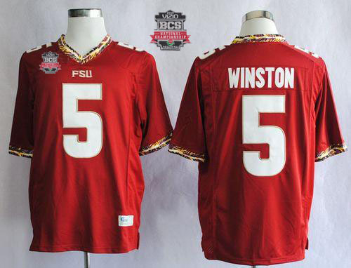 Seminoles #5 Jameis Winston Red 2014 BCS Bowl Patch Stitched NCAA Jersey