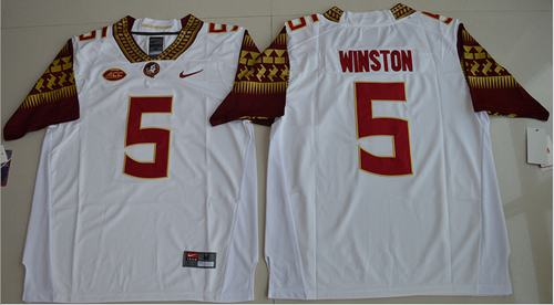 Seminoles #5 Jameis Winston White Stitched NCAA Limited Jersey