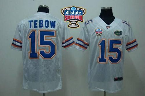 Gators #15 Tim Tebow White Allstate Sugar Bowl Stitched NCAA Jersey