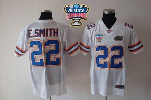 Gators #22 E.Smith White Allstate Sugar Bowl Stitched NCAA Jersey