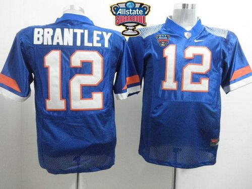 Gators #12 John Brantley Blue Allstate Sugar Bowl Stitched NCAA Jersey