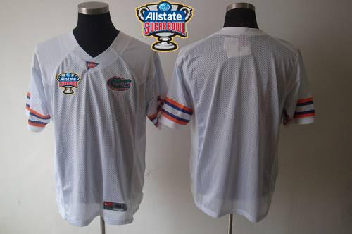 Gators Blank White Allstate Sugar Bowl Stitched NCAA Jersey
