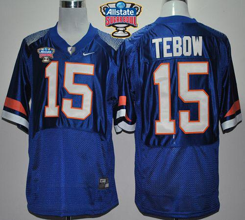 Gators #15 Tim Tebow Blue Pro Combat Allstate Sugar Bowl Stitched NCAA Jersey