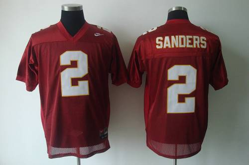 Seminoles #2 Deion Sanders Red Stitched NCAA Jersey