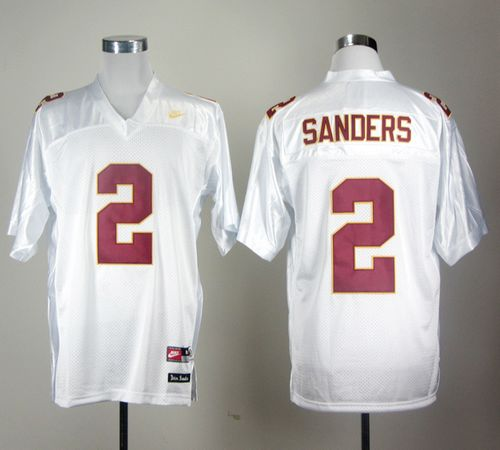 Seminoles #2 Deion Sanders White Stitched NCAA Jersey