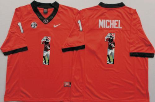 Bulldogs #1 Sony Michel Red Player Fashion Stitched NCAA Jersey