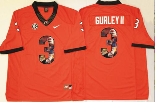 Bulldogs #3 Todd Gurley II Red Player Fashion Stitched NCAA Jersey