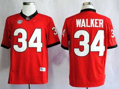 Bulldogs #34 Herschel Walker Red SEC Patch Stitched NCAA Jersey