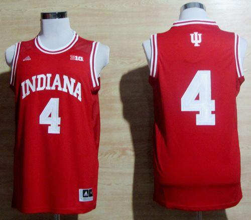 Hoosiers #4 Victor Oladipo Red Big 10 Patch Basketball Stitched NCAA Jersey