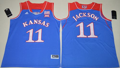 Jayhawks #11 Josh Jackson Royal Blue Basketball Authentic Stitched NCAA Jersey