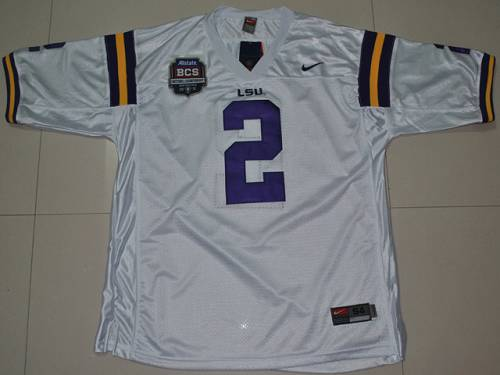 LSU Tigers #2 Rueben Randle White 2012 BCS Championship Patch Stitched NCAA Jersey