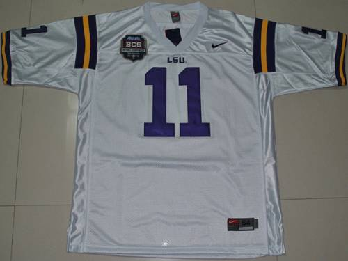 LSU Tigers #11 Spencer Ware White 2012 BCS Championship Patch Stitched NCAA Jersey