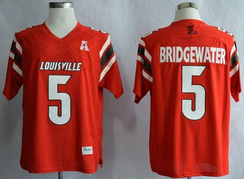 Cardinals #5 Teddy Bridgewater Red AAC Patch Stitched NCAA Jersey