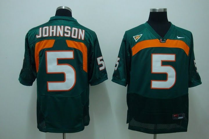 Hurricanes #5 Andre Johnson Green Stitched NCAA Jersey