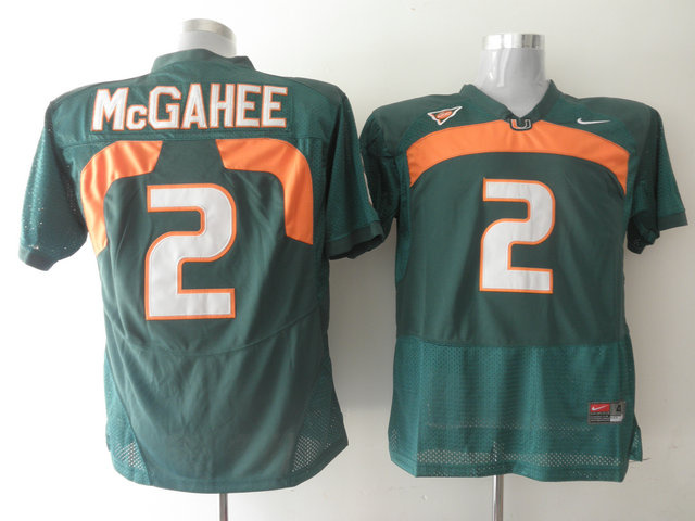 Hurricanes #2 Willis McGahee Green Stitched NCAA Jerseys