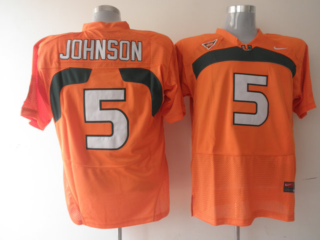 Hurricanes #5 Andre Johnson Orange Stitched NCAA Jerseys