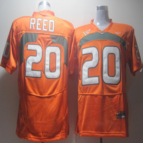 Hurricanes #20 Ed Reed Orange Stitched NCAA Jerseys