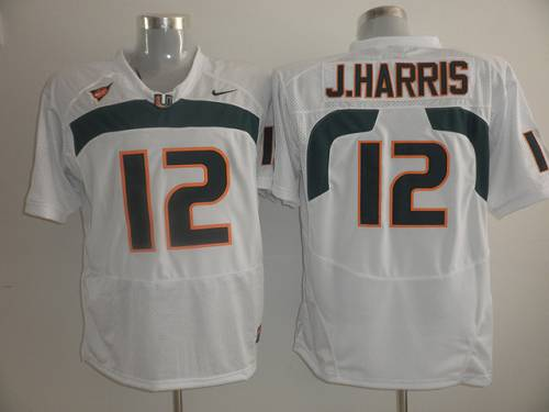 Hurricanes #12 Jacory Harris White Stitched NCAA Jerseys
