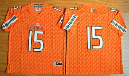 Hurricanes #15 Brad Kaaya Orange Stitched NCAA Jerseys