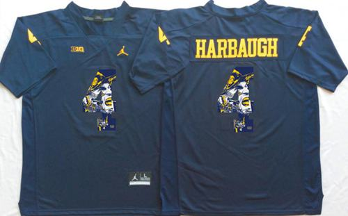 Wolverines #4 Jim Harbaugh Navy Blue Player Fashion Stitched NCAA Jersey