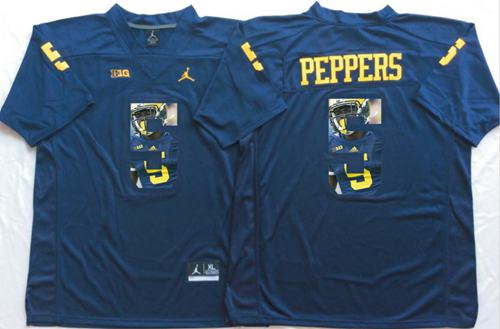 Wolverines #5 Jabrill Peppers Navy Blue Player Fashion Stitched NCAA Jersey