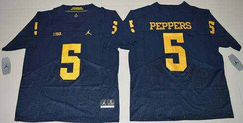 Wolverines #5 Jabrill Peppers Navy Blue Jordan Brand Elite Stitched NCAA Jersey