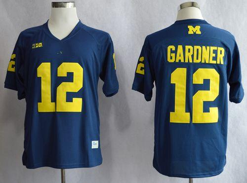 Wolverines #12 Devin Gardner Blue Big 10 Patch Stitched NCAA Jersey