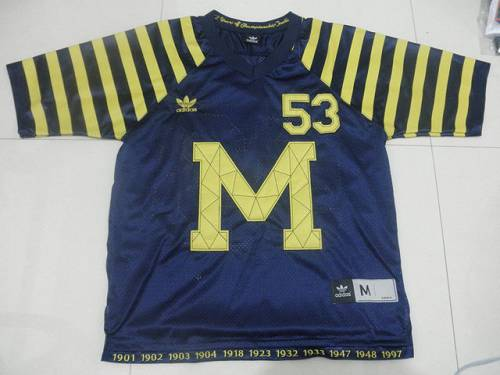 Wolverines #53 Michigan Blue Under The Lights Stitched NCAA Jersey