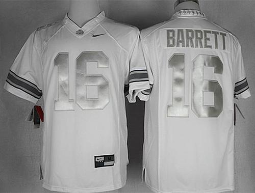 Buckeyes #16 J. T. Barrett White Limited Platinum Stitched NCAA Jersey