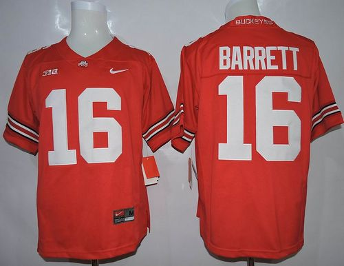 Buckeyes #16 J. T. Barrett Red Limited Stitched NCAA Jersey