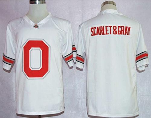 Buckeyes Scarlet & Gray White Pride Fashion Stitched NCAA Jersey