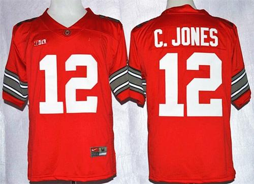 Buckeyes #12 Cardale Jones Red Diamond Quest Stitched NCAA Jersey