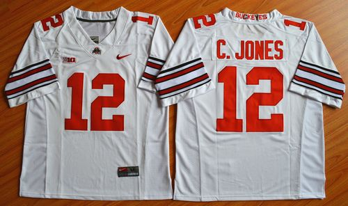Buckeyes #12 Cardale Jones White Diamond Quest Stitched NCAA Jersey
