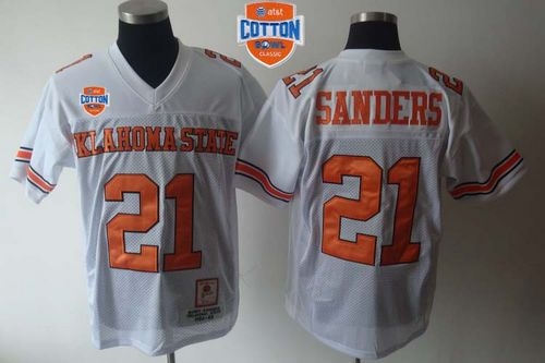 Cowboys #21 Barry Sanders White Throwback 2014 Cotton Bowl Patch Stitched NCAA Jersey