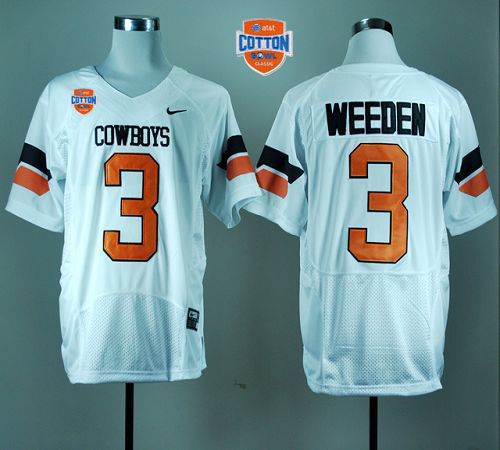Cowboys #3 Brandon Weeden White Pro Combat 2014 Cotton Bowl Patch Stitched NCAA Jersey