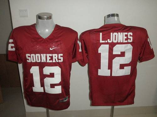 Sooners #12 Landy Jones Red Stitched NCAA Jersey