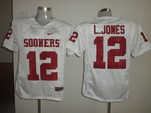 Sooners #12 Landy Jones White Stitched NCAA Jersey