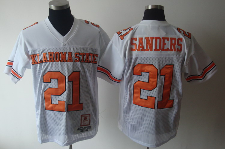 Cowboys #21 Barry Sanders White Throwback Stitched NCAA Jersey