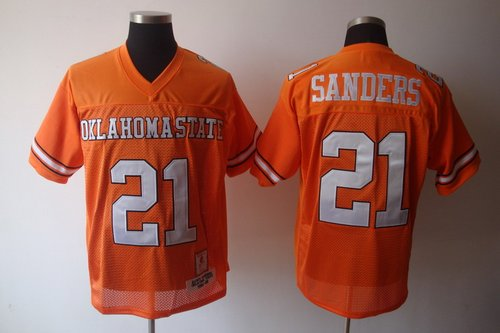 Cowboys #21 Barry Sanders Orange Throwback Stitched NCAA Jersey