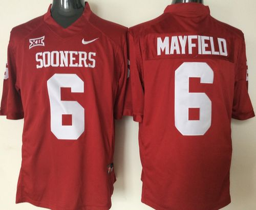 Sooners #6 Baker Mayfield Red XII Stitched NCAA Jersey