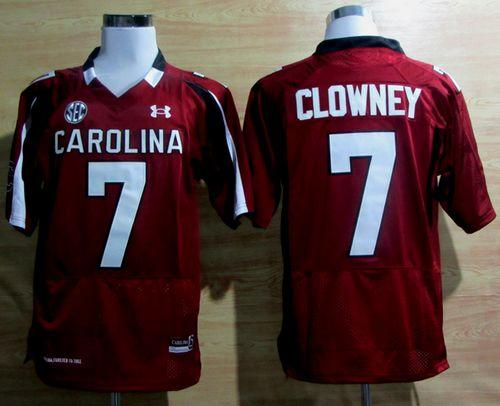 South Carolina #7 Javedeon Clowney Red SEC Patch Stitched NCAA Jersey