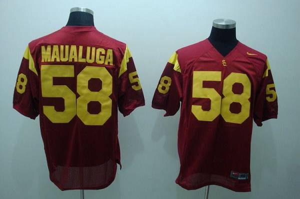 Trojans #58 Rey Maualuga Red Stitched NCAA Jersey