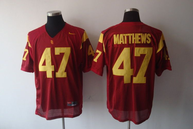 Trojans #47 Red Stitched NCAA Jersey