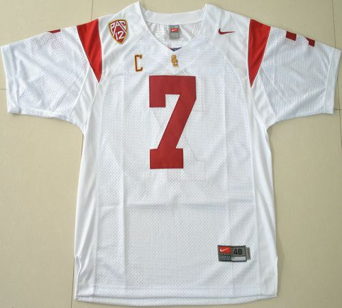 Trojans #7 Matt Barkley White With PAC-12 C Patch Stitched NCAA Jersey