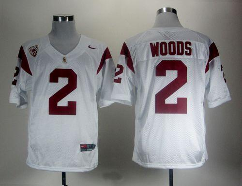 Trojans #2 Robert Woods White With Pac-12 Patch Stitched NCAA Jersey