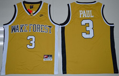 Demon Deacons #3 Chris Paul Gold Basketball Stitched NCAA Jersey