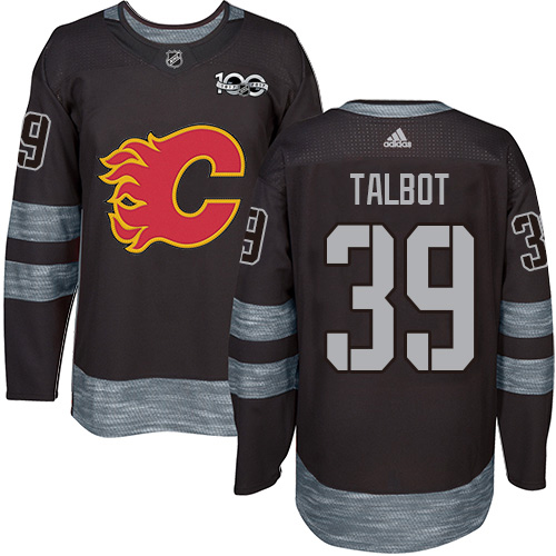 Adidas Flames #39 Cam Talbot Black 1917-2017 100th Anniversary Stitched NHL Jersey